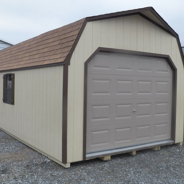 12x24 High Barn Garage - Beige